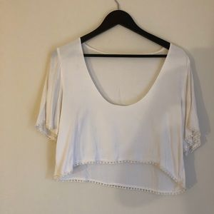 Olivaceous White Silk Tee Size Large